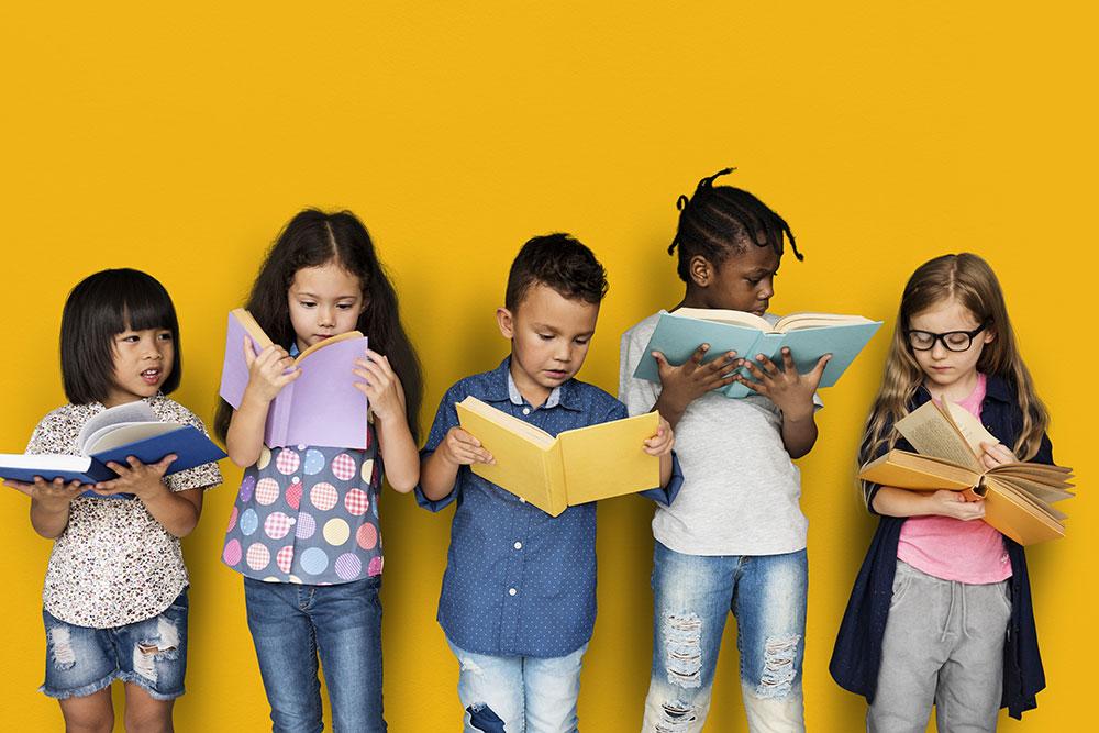 Five kids reading books